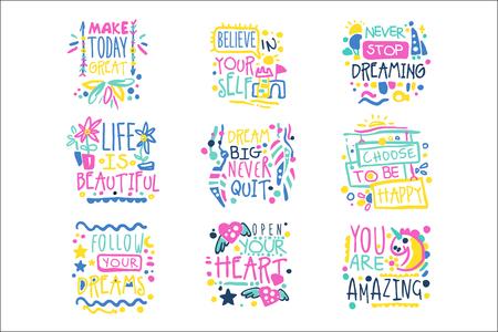 Courts messages positifs, citations inspirantes vecteur dessiné main coloré Illustrations isolées sur fond blanc