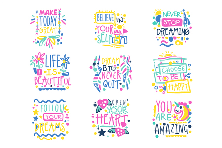 Short possitive messages, inspirational quotes colorful hand drawn vector Illustrations isolated on white background