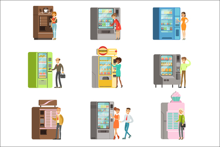 Consumers standing near vending machine and going to buy a drinks and food. Set of colorful cartoon detailed vector Illustrations isolated on white background