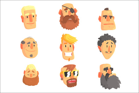 Cartoon avatar men faces with different emotions. Set of men from different nations and professions, colorful Illustrations isolated on white background Illustration
