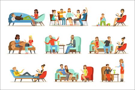 Pacjenci na przyjęciu na psychoterapii. Ludzie rozmawiają z psychologiem. Poradnictwo psychoterapeutyczne, kolorowe ilustracje na białym tle