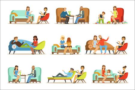 Gente hablando con psicólogo. Pacientes en una recepción en las psicoterapias. Consejería de psicoterapia, ilustraciones coloridas aisladas sobre fondo blanco Logos