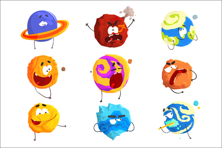 Colorful cartoon planets with funny faces and different emotions set for label design. Detailed vector Illustrations isolated on white background Ilustrace