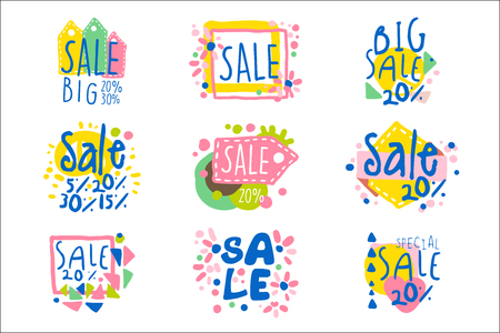 Big sale set for label design. Sale shopping, exclusive special offers badges. Colorful vector Illustrations for for stickers, banners, cards, advertisement, tags Illustration