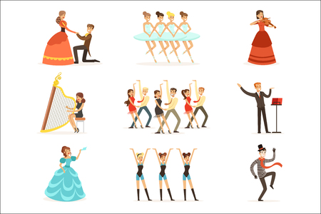 Classic Theater And Artistic Theatrical Performances Set Of Illustrations With Opera, Ballet And Drama Performers On Stage Standard-Bild - 107316853