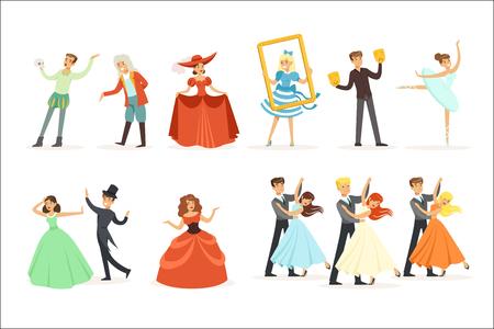 Teatro clásico y representaciones teatrales artísticas Serie de ilustraciones con artistas de ópera, ballet y drama en el escenario