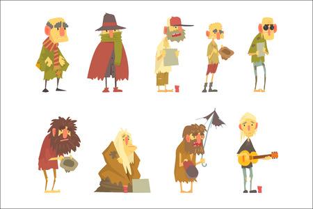 Set di caratteri di senzatetto. Problemi di disoccupazione e senzatetto fumetto illustrazioni vettoriali isolate su sfondo bianco