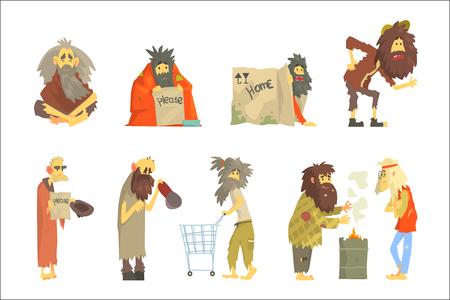 Satz von Obdachlosen, Charaktere in schmutzigen zerrissenen Kleidern. Arbeitslosigkeit und Obdachlose fragen Cartoon-Vektor-Illustrationen isoliert auf weißem Hintergrund