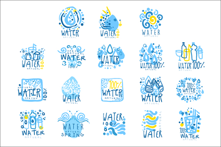 Natural water set for label design. Colorful hand drawn illustrations Stock Vector - 107316855