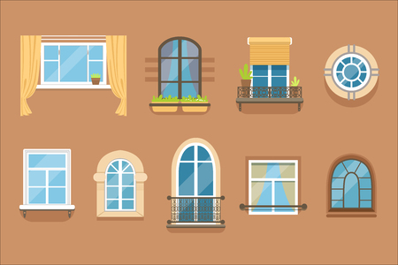 Windows set in different styles and forms. Window frames exterior view 免版税图像 - 107316859