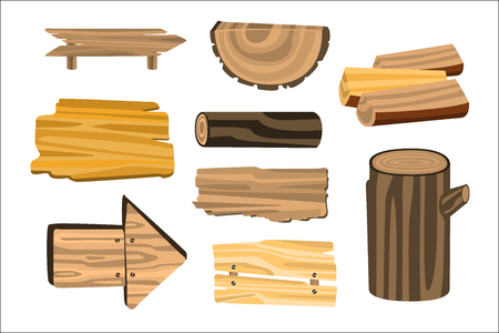 Set of wooden sign boards, planks, logs. Wooden materials vector Illustrations isolated on white background Ilustración de vector