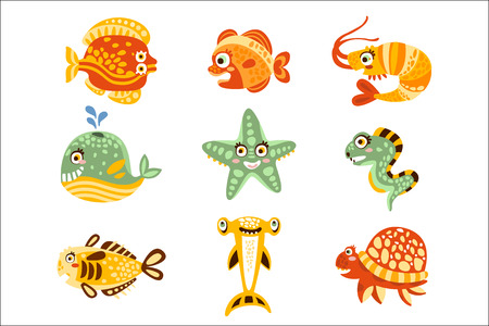 Cartoon underwater world with fish, plants, marine life. Underwater world set of colorful characters vector Illustrations