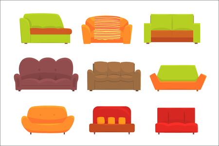 Sofas, furniture for living room. Comfortable couch set of colorful detailed vector Illustrations isolated on white background