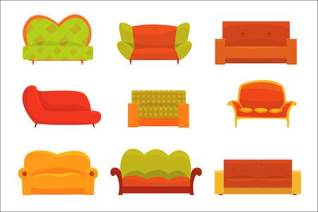 Sofas und Sessel, Interieurelemente. Komfortable Couch mit bunten detaillierten Vektorillustrationen isoliert auf weißem Hintergrund