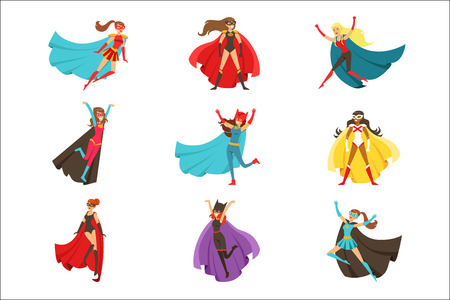 Female Superheroes In Classic Comics Costumes With Capes Set Of Smiling Flat Cartoon Characters With Super Powers Çizim