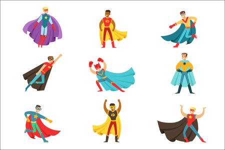 Male Superheroes In Classic Comics Costumes With Capes Set Of Smiling Flat Cartoon Characters With Super Powers Stock Illustratie