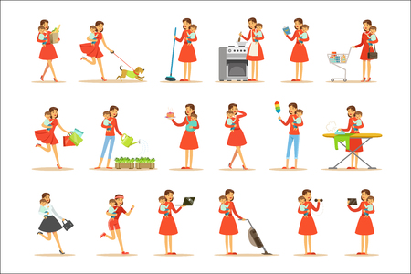Madre che tiene il bambino in braccio facendo diverse attività insieme di illustrazioni con Supermamma e i suoi doveri. Giovane mamma con bambino riuscendo a fare tutto insieme di scene di vita dei personaggi dei cartoni animati femminili.