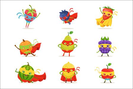 Frutas de superhéroe en máscaras y capas Conjunto de personajes humanizados de dibujos animados infantiles lindos en disfraces