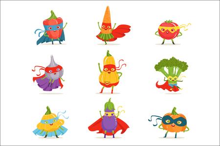 Légumes de super-héros en masques et capes ensemble de personnages humanisés de dessin animé enfantin mignon en Costumes