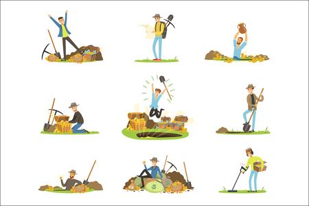 Schatzoeken, mensen op zoek naar schatten. Cartoon gedetailleerde illustraties geïsoleerd op een witte achtergrond