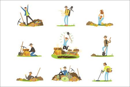 Treasure hunting, people in search of treasure. Cartoon detailed Illustrations isolated on white background
