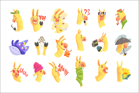 Funny alpaca characters posing in different situations, cartoon emoji alpaca colorful Illustrations isolated on white background Standard-Bild - 110513934