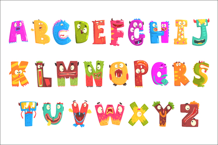 Colorful cartoon children English alphabet with funny monsters. Education and development of children detailed colorful Illustrations isolated on white background