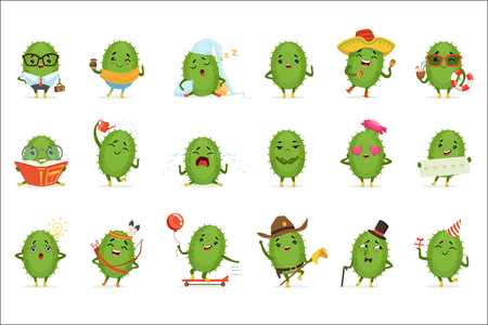 Cute cactus cartoon characters set, cacti activities with different emotions and poses, colorful detailed vector Illustrations isolated on white background  イラスト・ベクター素材