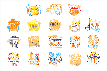 Cooking time logo design, set of colorful hand drawn vector illustrations