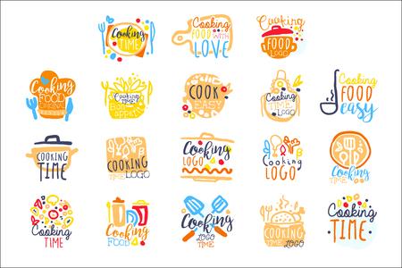 Kochzeitlogodesign, Satz bunte Hand gezeichnete Vektorillustrationen Logo