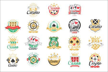 Casino-Logo-Design, Satz bunte Glücksspielembleme, Etiketten, Abzeichen, Vektor-Illustrationen