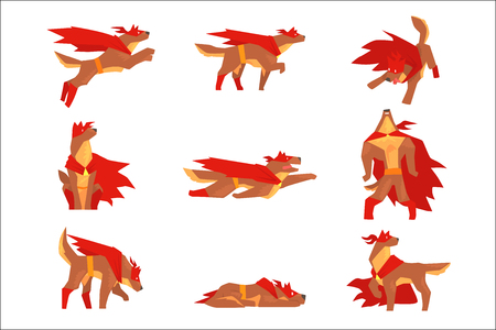 Dog superhero character set, dog in different poses with red cape vector Illustrations Ilustração