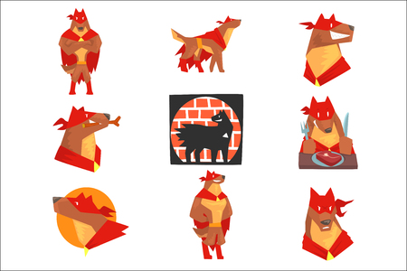 Dog superhero character in action set, dog in different poses with red cape vector Illustrations Reklamní fotografie - 107316877