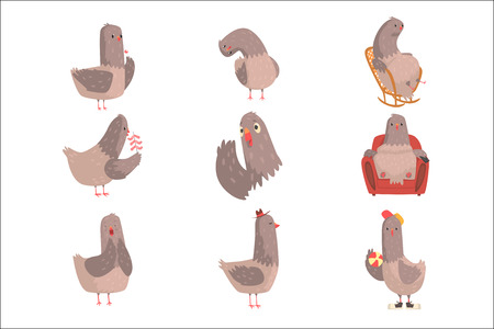 Ensemble d'oiseaux de dessin animé mignon, personnage d'oiseau drôle avec différentes actions et émotions vector Illustrations isolées sur fond blanc