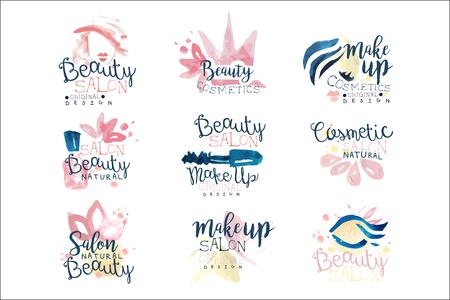 Beauty salon logo design, set of colorful hand drawn watercolor Illustrations