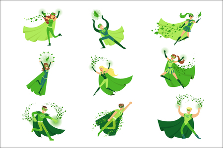 ECO superhero characters in action set, young men and women in green capes vector Illustrations Ilustrace
