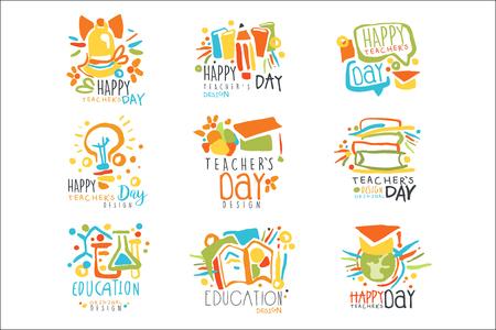 Happy Teachers Day Etiketten, Satz von Logo-Grafikvorlagen