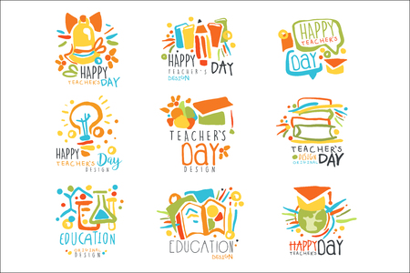 Happy Teachers Day labels, set of logo graphic templates