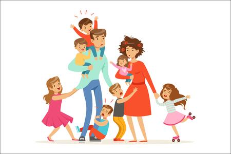 Große Familie mit vielen Kindern. Kinder, Babys und ihre müden Eltern Vektor-Illustration isoliert auf weißem Hintergrund Vektorgrafik