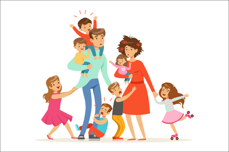 Large family with many children. Kids, babies and their tired parents vector Illustration isolated on a white background 向量圖像