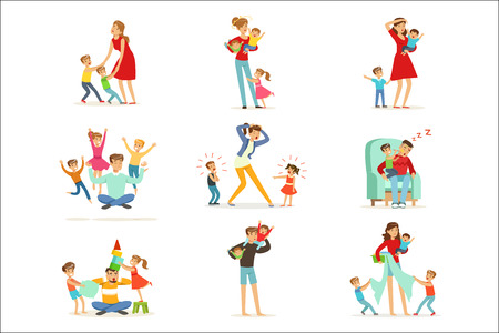 Tired parents and their children set, parenting stress vector Illustration isolated on a white background Ilustração