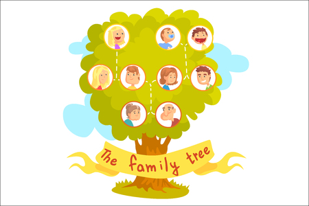 Family tree with portraits of relatives, genealogical tree vector Illustration Vectores