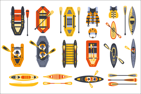 Canoe Sport Equipment Set Flat Simplified Cartoon Style Bright Color Vector Illustration On White Background.