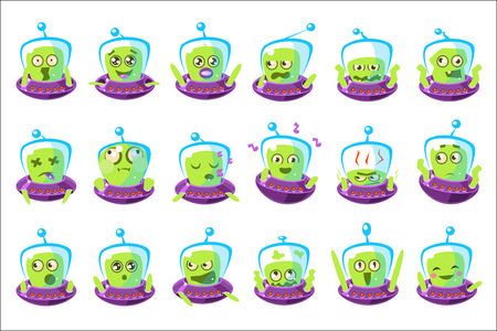 Alien In Ufo Emoji Set Of Simplified Cartoon Character Stickers Isolated. Stock Illustratie