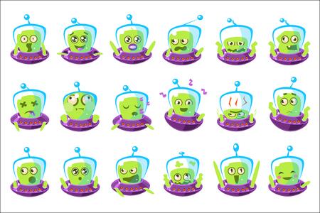 Alien In Ufo Emoji Ensemble d'autocollants de personnage de dessin animé simplifié isolé.