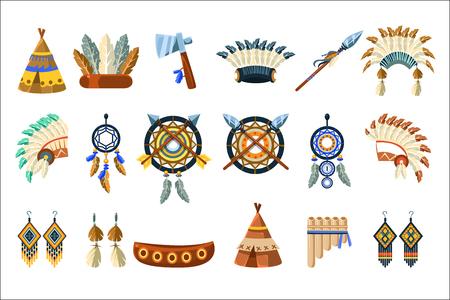Set di cultura degli indiani nordamericani di semplici illustrazioni vettoriali realistiche piatte