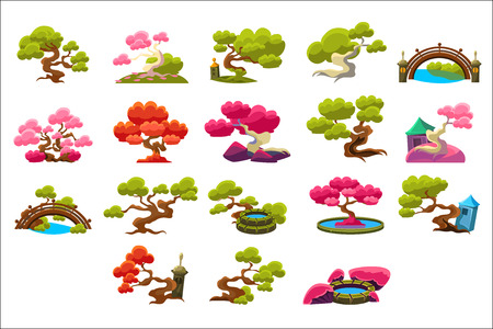 Japanese Style Trees Set Of Isolated Bright Color Simplified Traditional Style Vector Images On Dark Background Illustration