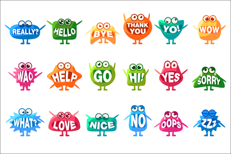 Monster With Words In Mouth For Teeth Set Of Funny Cartoon Emoticon Character Sticker Isolated