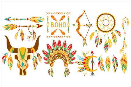 Éléments ethniques amérindiens Boho Style Design Set d'icônes à la mode plat multicolores isolé sur fond blanc Vecteurs