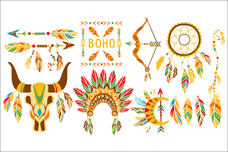 American Indian Ethnic Elements Boho Style Design Set Of Multicolor Flat Trendy Icons Isolated On White Background Illustration